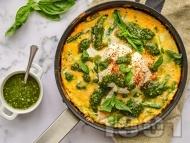 Рецепта Фритата с аспержи, песто, пармезан и сирене бурата